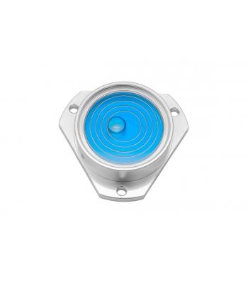 Kruhová libela KINEX s upevňovacími otvory pr.35mm - stříbrná, hliník