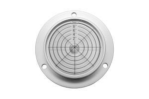 Kruhová libela KINEX s upevňovacími otvory pr.60 - stříbrná, hliník