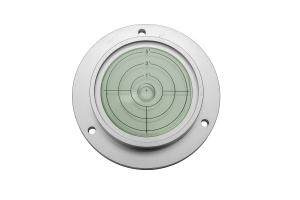Kruhová libela KINEX s upevňovacími otvory pr.75mm - stříbrná, hliník