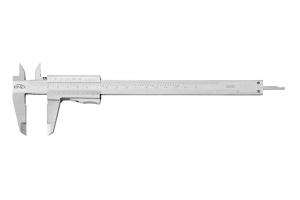 Posuvné měřítko KINEX 160 mm, 0,02 mm, aretace tlačítkem, mm+inch, monoblok, ČSN251238, DIN862