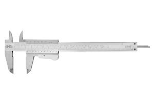 Posuvné měřítko KINEX 150 mm, 0,02 mm, aretace tlačítkem, mm+inch, monoblok, ČSN251238, DIN862