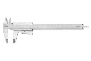 Posuvné měřítko KINEX 150 mm, 0,05 mm, aretace tlačítkem, mm+inch, monoblok, ČSN251238, DIN862