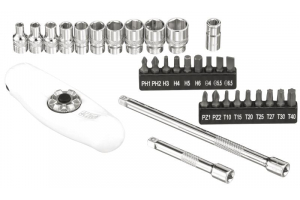 1/4' 32dílná sada nářadí 4-13mm + pětifunkční ráčna 72 zubů (4CZ-146-32)
