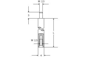 Prodloužení pro úchylkoměry 4mm, M2.5, délka 10mm (0710111)