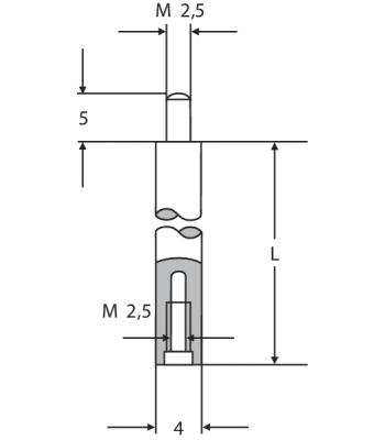 Prodloužení pro úchylkoměry 4 mm, M2.5, délka 45 mm (0710118)