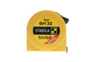 STABILA 16454 - Metr svinovací 5m/16ft, žlutá ocelová páska, Typ BM 30